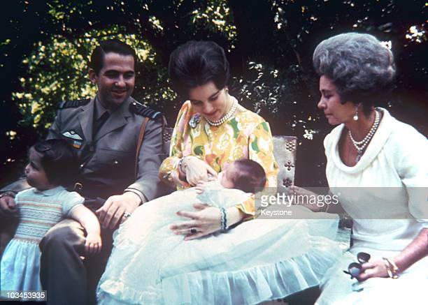 King Constantine and Queen AnneMarie of Greece with their children Princess Alexia and baby Prince Paul with Frederika the Queen Mother in 1967
