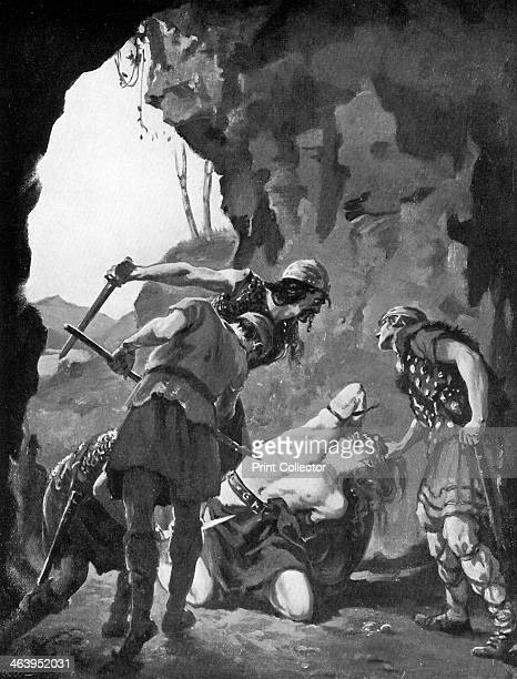 King Constantine I of Scotland being slain by the Danes in 877 c1920 From Hutchinson's Story of the British Nation volume I by Walter Hutchinson