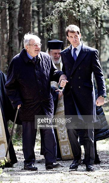 King Constantine II and his sons Pavlos, Crown Prince of Greece attends a dirge and the Orthodox Mass in memory of King Paul in the cemetery at Tatoi...