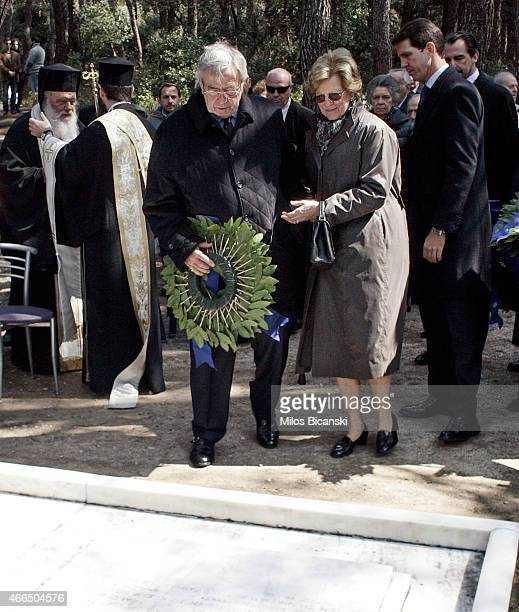 King Constantine II and his wife Queen Anne Marie of Greece attend a dirge and the Orthodox Mass in memory of King Paul in the cemetery at Tatoi...