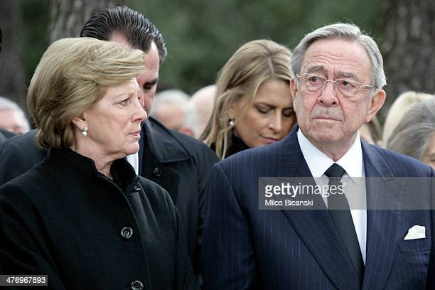 King Constantine II and his wife Queen Anne Marie of Greece attend the Orthodox Mass commemorating the 50th anniversary of King Paul I of Greece's...