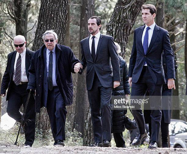 King Constantine II his sons, Prince Nikolaos of Greece and Pavlos, Crown Prince of Greece attend a dirge and the Orthodox Mass in memory of King...