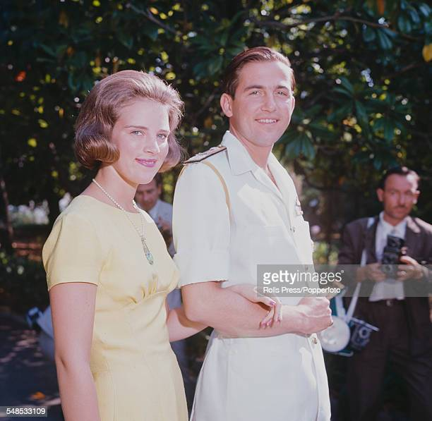 King Constantine II of Greece and his fiancee Princess AnneMarie of Denmark pictured together at the Greek royal summer residence in Corfu on 23rd...