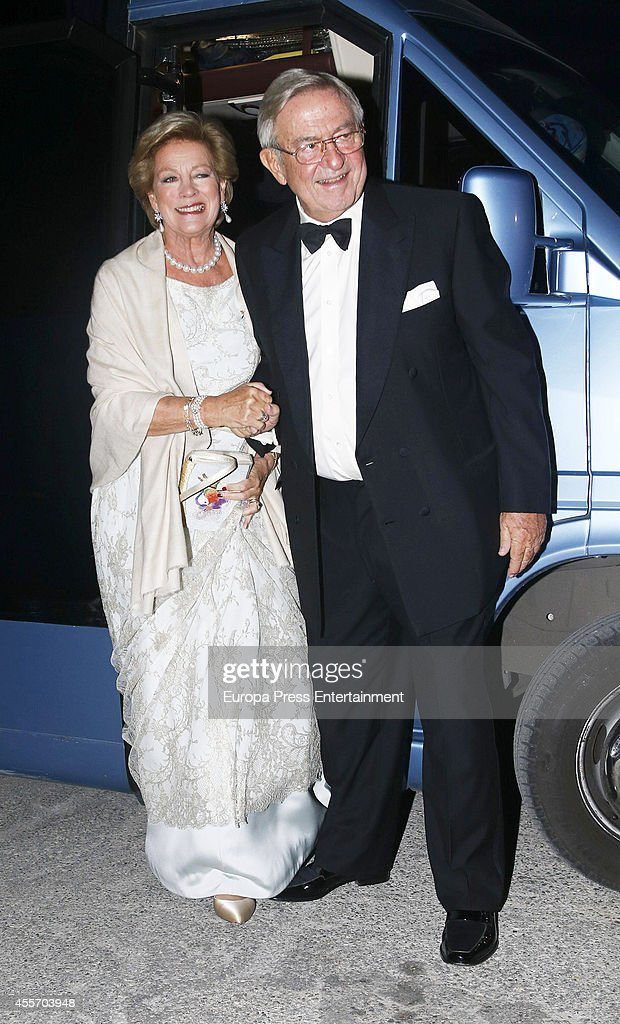 King Constantine II of Greece and Queen Anne-Marie of Greece attend private dinner to celebrate their Golden Wedding at Yacht Club on September 18, 2014 in Athens, Greece.