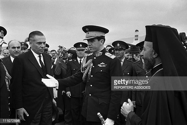King Constantine II of Greece, Archbishop Makarios at the airport in the funeral of Paul I/GRC: Makarios In Athens, Greece On March 11, 1964