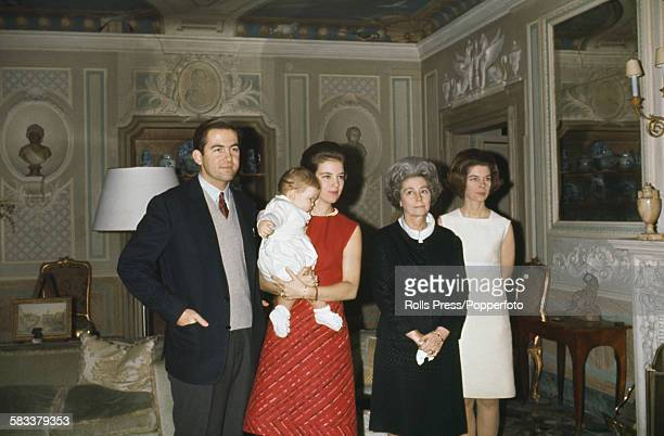 King Constantine II of Greece pictured left with his family in exile in Rome Italy in December 1967 From left to right Constantine II of Greece Queen...