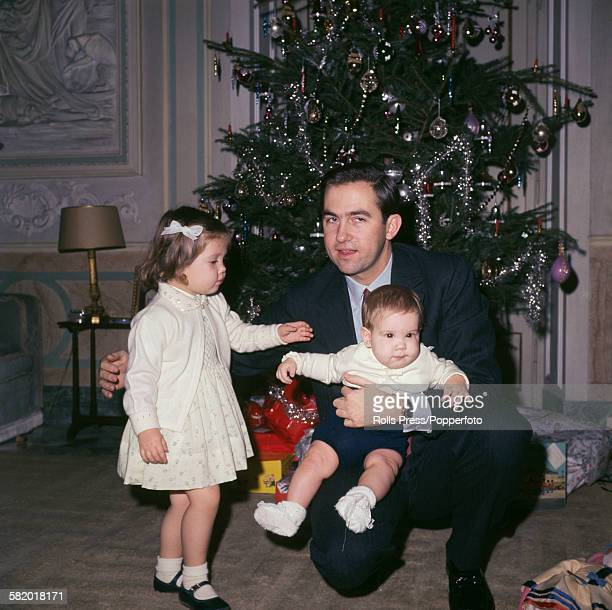 King Constantine II of Greece pictured with his daughter Princess Alexia of Greece and Denmark and son Pavlos Crown Prince of Greece in exile in Rome...