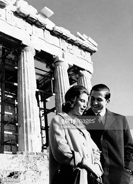 King Constantine II of Greece visits the Acropolis with his wife, Queen Anne-Marie. | Location: Acropolis, Athens, Greece.