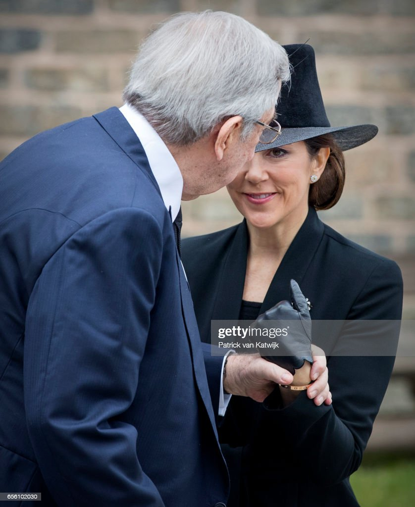 King Constantine of Greece and Crown Princess Mary of Denmark attend the funeral of Prince Richard at the Evangelische Stadtkirche on March 21, 2017 in Bad Berleburg, Germany. Prince Richard, husband of Princess Benedikte of Denmark, died suddenly on March 13, 2017 at age 83.