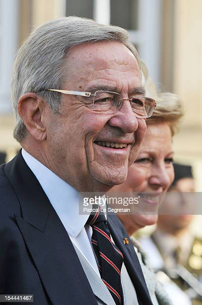 King Constantine of Greece and Queen Anne Marie of Greece attend the wedding ceremony of Prince Guillaume Of Luxembourg and Princess Stephanie of...