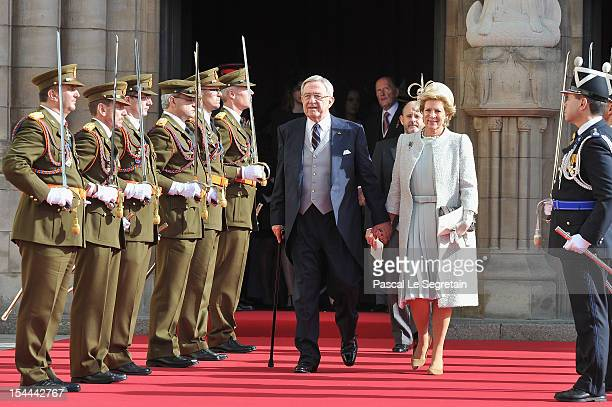 King Constantine of Greece and Queen Anne Marie of Greece emerge from the Cathedral following the wedding ceremony of Prince Guillaume Of Luxembourg...