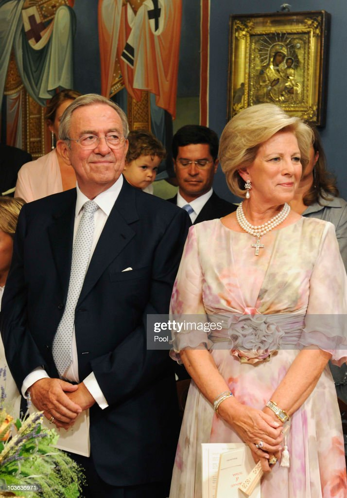 King Constantine of Greece (L) and Queen Anne-Marie of Greece attend the wedding ceremony of their son Prince Nikolaos of Greece to Tatiana Blatnik in the Cathedral of Ayios Nikolaos (St. Nicholas) on August 25, 2010 in Spetses, Greece. Representatives from Europe�s royal families have joined the many guests who have travelled to the island to attend the wedding of Prince Nikolaos of Greece, the second son of King Constantine of Greece and Queen Anne-Marie of Greece and Tatiana Blatnik an events planner for Diane Von Furstenburg in London.