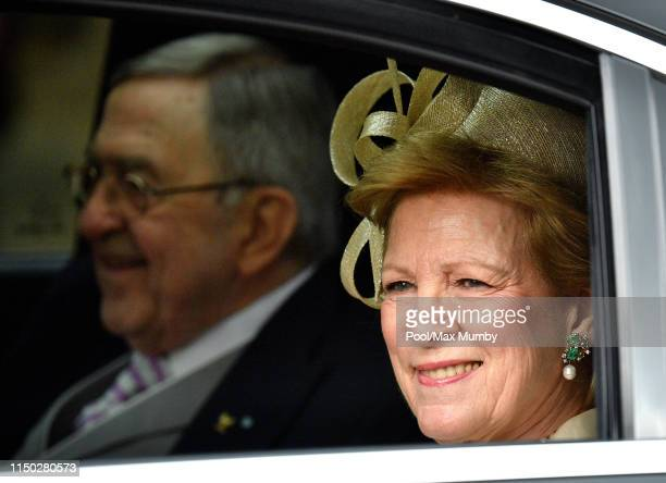 King Constantine of Greece and Queen AnneMarie of Greece attend the wedding of Lady Gabriella Windsor and Thomas Kingston at St George's Chapel on...