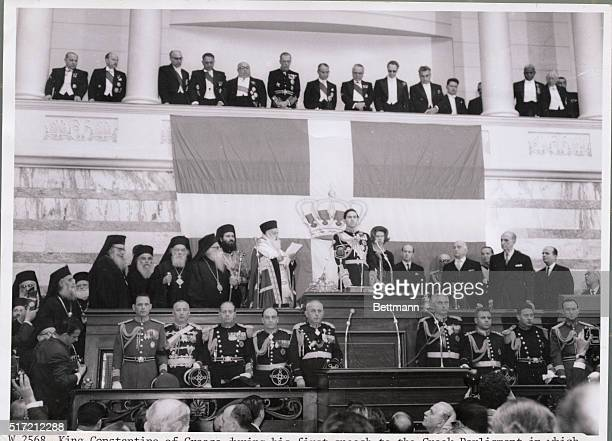King Constantine of Greece during his first speech to the Greek Parliament in which he proclaimed complete support for the struggle of Greek Cypriots.