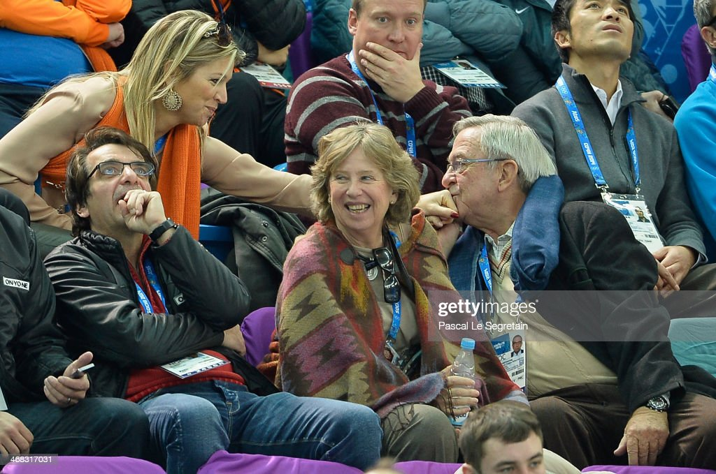 King Constantine of Greece (R) kisses the hand of Queen Maxima of the Netherlands (L) as they attend the Short Track on day 3 of the Sochi 2014 Winter Olympics at Iceberg Skating Palace on February 10, 2014 in Sochi, Russia.