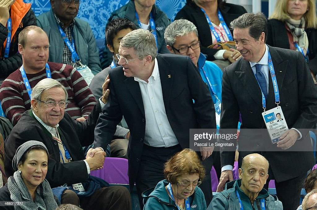 King Constantine of Greece shakes hands with International Olympic Committee (IOC) President Thomas Bach as International Skating Union President Ottavio Cinquanta stands during the Short Track on day 3 of the Sochi 2014 Winter Olympics at Iceberg Skating Palace on February 10, 2014 in Sochi, Russia.