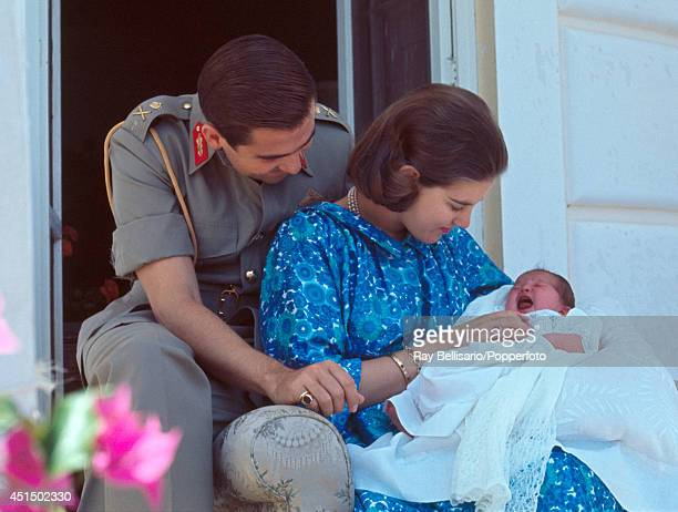 King Constantine of Greece with his wife Queen AnneMarie and newborn daughter Princess Alexia at Mon Repos on Corfu 10th July 1965