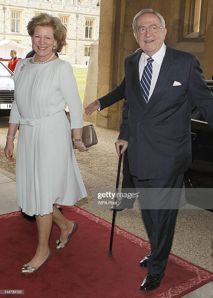 King Constantine of the Hellenes and Queen Anne-Marie arrive for a lunch for Sovereign Monarchs in honour of Queen Elizabeth II's Diamond Jubilee, at Windsor Castle, on May 18, 2012 in Windsor, England.
