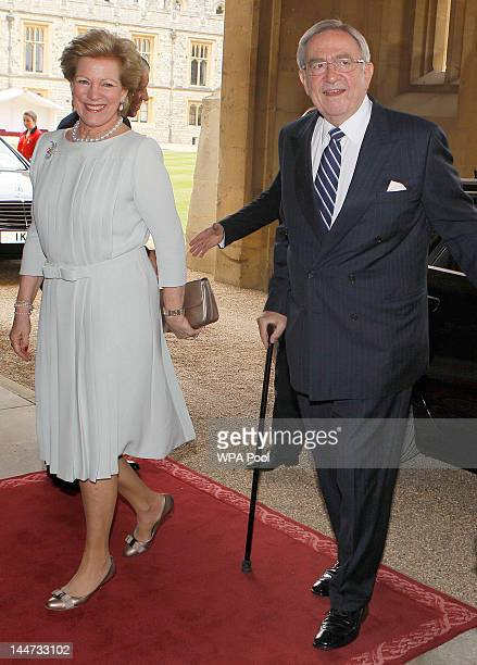 King Constantine of the Hellenes and Queen AnneMarie arrive for a lunch for Sovereign Monarchs in honour of Queen Elizabeth II's Diamond Jubilee at...