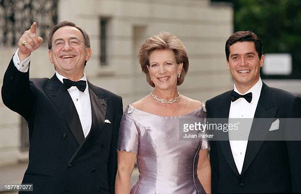 King Constantine & Queen Anne-Marie Attend A Gala At Bridgewater House Prior To The Wedding Of Princess Alexia Of Greece And Carlos Morales Quintana.