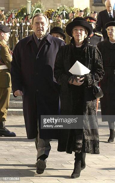 King Constantine Queen AnneMarie Of Greece Attend The Funeral Of Grand Duchess JosephineCharlotte Of Luxembourg At The Cathedral NotreDame Du...