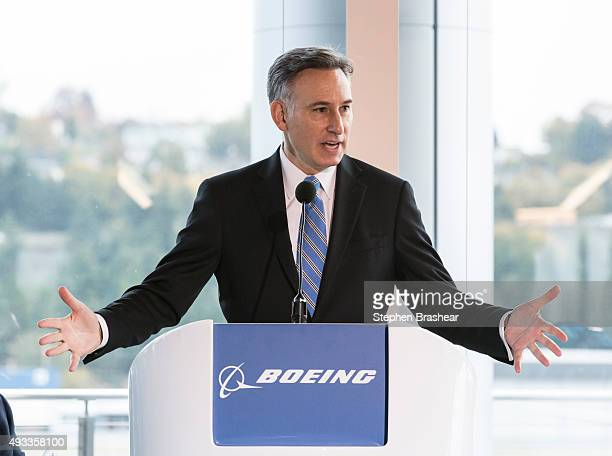 King County Washington Executive Dow Constantine speaks during the grand opening of the new Boeing 737 Delivery Center on October 19 2015 in Seattle...
