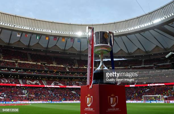 King Cup trophy displayed prior the Spanish Copa del Rey Final match between Barcelona and Sevilla at Wanda Metropolitano on April 21 2018 in Madrid...