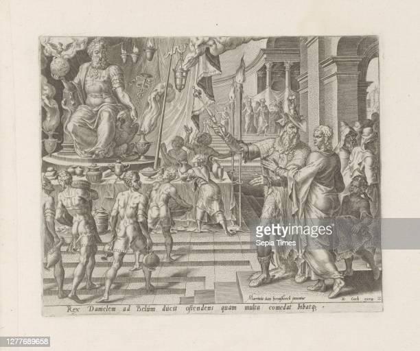 King Cyrus shows Daniel the statue of the god Bel History of Daniel, Bel and the dragon Thesaurus sacrarum historiaru [m] veteris testame [n] ti,...