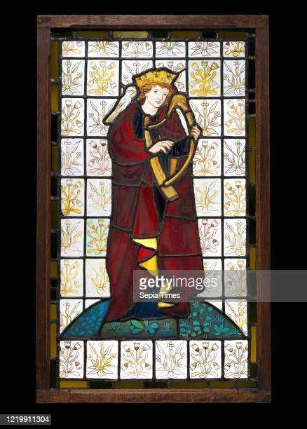 King David the Poet. 1863. British. London. Stained glass. Overall: 32 1/2 _ 19 1/2 in. . Glass-Stained. This panel of King David. With three other...