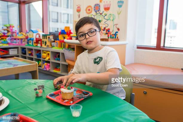King decorates cupcakes at a party in honor of Eversource's longstanding commitment of Boston Children's Hospital on June 7 2017 in Boston...