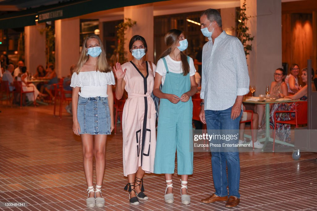 Their Majesties The King And Queen, Princess Leonor And Infanta Sofia Attend A Family Dinner During Their Holidays In Majorca : News Photo