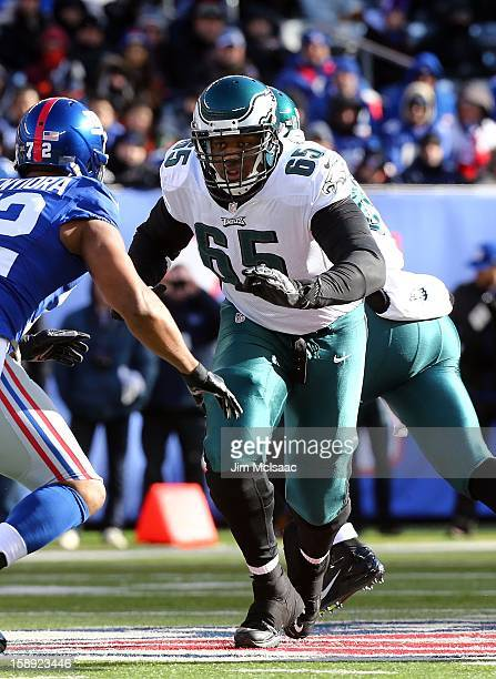 King Dunlap of the Philadelphia Eagles in action against the New York Giants at MetLife Stadium on December 30, 2012 in East Rutherford, New Jersey....