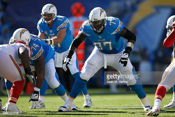 King Dunlap of the San Diego Chargers blocks for Philip Rivers of the San Diego Chargers during a game against the Kansas City Chiefs at Qualcomm...