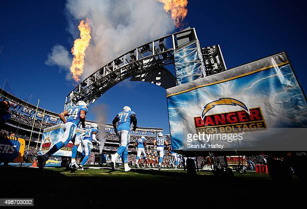 King Dunlap of the San Diego Chargers, Donald Brown of the San Diego Chargers, Steve Williams of the San Diego Chargers enter the stadium before a...