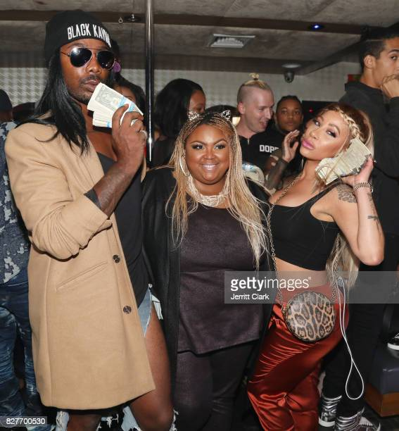 King Echo Hattix of Echoing Soundz and HazelE attend Moula Mondays Hosted By Hazel E And Alexis Skyy at The Diamond District on August 7 2017 in Los...