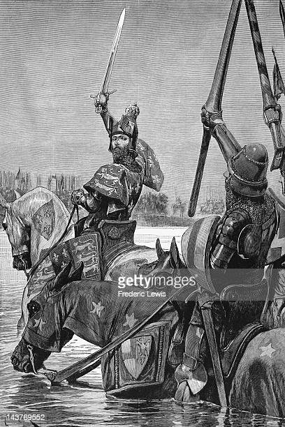 King Edward III of England crosses the Somme River in northern France with his army before the Battle of Crecy during the Hundred Years' War 1346...