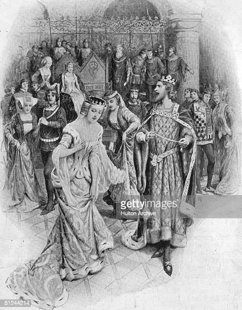 1348 King Edward III picks up a garter dropped by a lady in court and ties it around his own leg in what is reputed to be the origin of the Most...