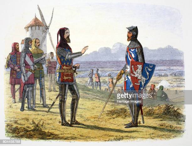 King Edward III refuses succour to his son at the Battle of Crecy France 1346 One of the defining battles of the Hundred Years War between England...