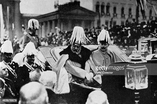 King Edward VII and Kaiser Wilhelm II in Berlin, February 1909 . Edward was the Kaiser's uncle. A print from King Edward the Seventh, by Philip...