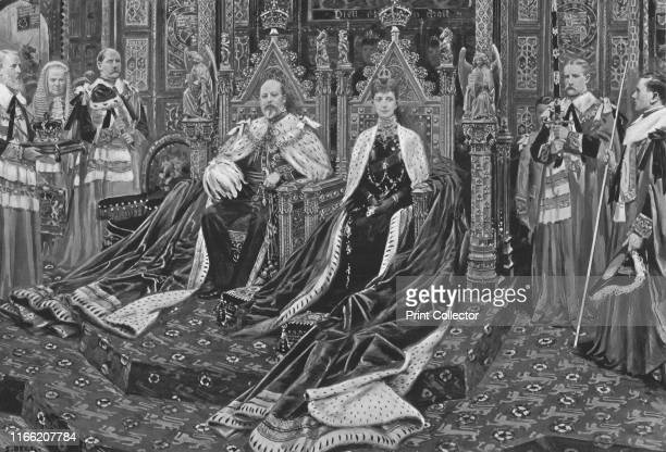 King Edward VII And Queen Alexandra at the Opening of His Majesty's First Parliament February 14 1901' Edward VII and Queen Alexandra in ceremonial...