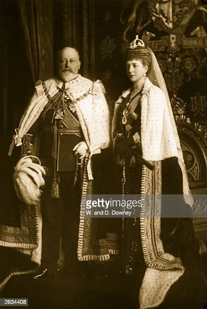 King Edward VII and Queen Alexandra in state robes at the state opening of Parliament.