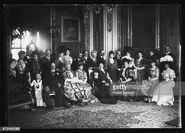 King Edward VII and Queen Alexandra of England with their extended family at Windsor including Louise Duchess of Fife Prince Arthur Duke of Connaught...