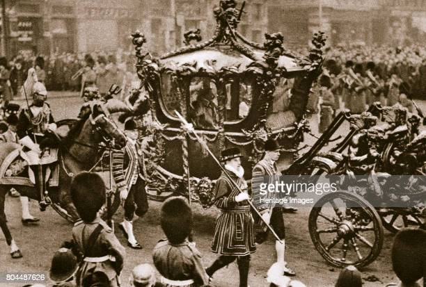 King Edward VII and Queen Alexandra on their way to the State Opening of Parliament London 1900s Edward VII and Alexandra riding in the Royal coach...