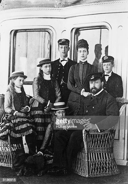 King Edward VII and Queen Alexandra with their family on board the Royal yacht 'Osborne'