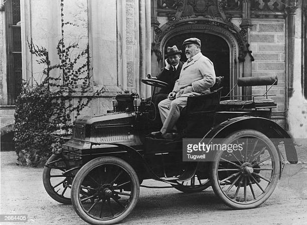 King Edward VII as Prince of Wales in a 12 hp Daimler car in front of Highcliffe Castle during a stay there The owner of the car Mr Montagu was asked...