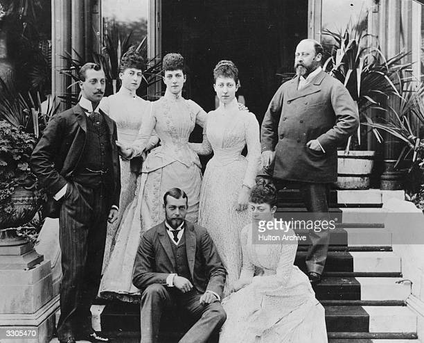 King Edward VII as Prince of Wales , Queen Alexandra as Princess of Wales and their five children. From left, Albert Victor, Duke of Clarence; Maud,...
