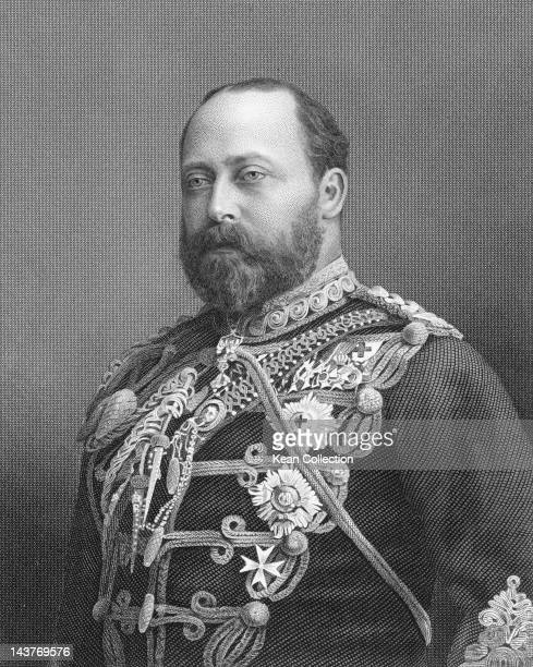 King Edward VII of England whilst Prince of Wales, circa 1880. An engraving by E. Stodart from a photograph by W. & D. Downey.