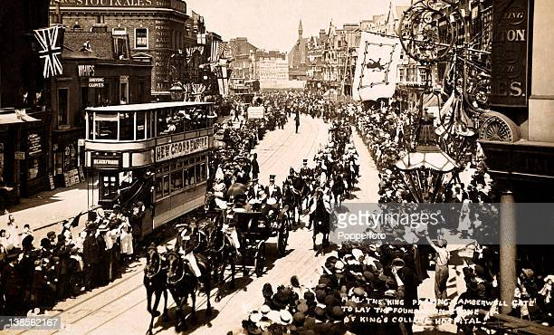 King Edward VII passing Camberwell Gate en route to laying the foundation stone for King's College Hospital circa 1909