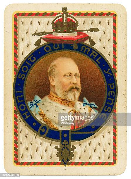 playing card coronation 1902 edward vii and alexandra - edward vii stock pictures, royalty-free photos & images