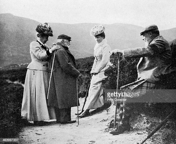 King Edward VII , Princess Mary, Lady Katherine Coke and Captain Welsh, 1908. A print from Queen Alexandra's Christmas Gift Book, Photographs from My...